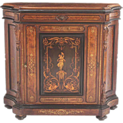 Inlaid Victorian Walnut Credenza with Burled Top