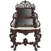 Open Carved Walnut Victorian Marble Top Etagere with Floral Carvings