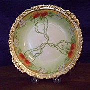 SALE Handpainted Limoges Bowl with Strawberries by Whites Art Company