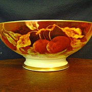 SALE Antique Limoges Punch Bowl with Cherries by Marsey