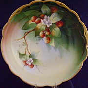 Antique Limoges Handpainted Center Bowl with Cherries by Donath