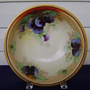 SALE Antique Bavaria Handpainted Fruit Bowl with Plums