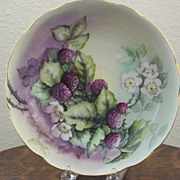 Antique Limoge Handpainted Bowl with Blackberries