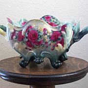 Vintage Handpainted Handled Center Bowl with Roses