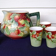 SALE Vintage Handpainted Cider Set with Cherries