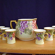 SALE Antique Handpainted Lemonade Set decorated with Grapes