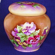 SALE Vintage Ladies Handpainted Tobacco Jar