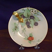SALE Antique Limoges Handpainted Lemon Dish with Berries