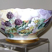 SALE Handpainted Limoge Punch Bowl with Blackberries