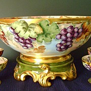 SALE Incredible Limoges Grape Punch Bowl Set: Punch Bowl, Plinth/Base/Pedestal, and 4 Cups