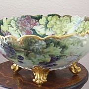 Antique Handpainted Limoges Punch Bowl with Grapes