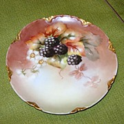 SALE Vintage Haviland Dessert Plate with Blackberries
