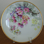 Antique Handpainted Plate with Blackberries by Luc