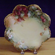Vintage Limoges Handpainted Plate with Berries