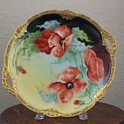 Handpainted Vintage Limoges Charger with Poppies