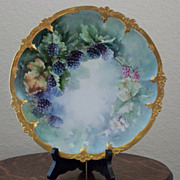 Vintage Limoges Handpainted Plate with Blackberries