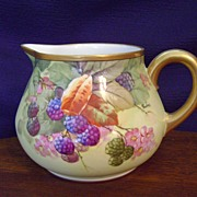 SALE Antique Limoges Handpainted Cider Pitcher with Berries