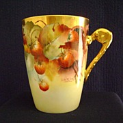 SALE Strawberry Decorated Handled Cup by Pickard artist LeRoy