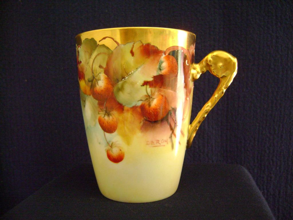 Strawberry Decorated Handled Cup by Pickard artist LeRoy