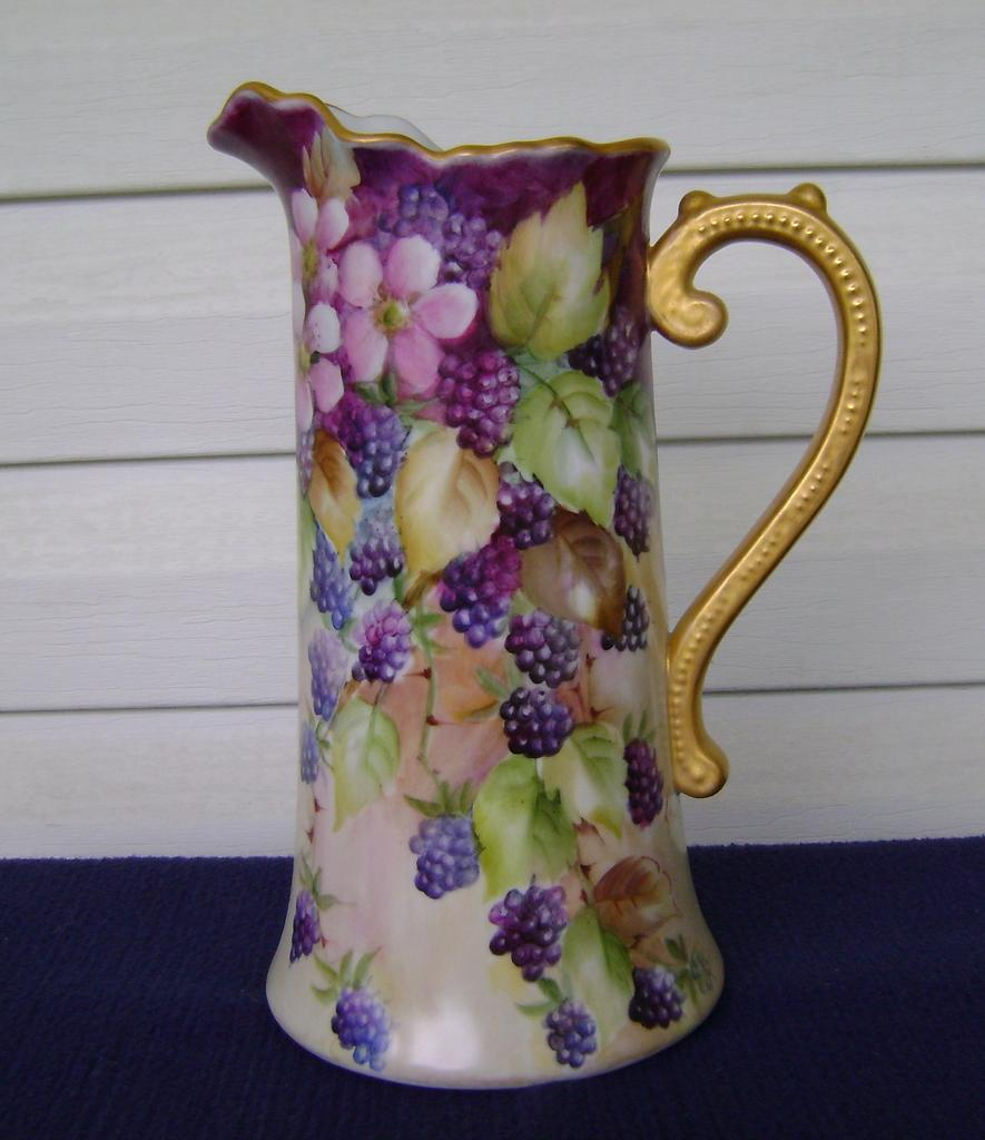 Vintage Handpainted Tankard Pitcher with Blackberries