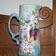 Limoges Handpainted Tankard with Blackberries