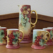 SALE Handpainted Tankard Set with Grapes