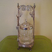 SALE Antique Middletown Silver Plate and Glass Pickle Castor