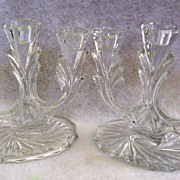 SALE Pair of crystal candelabra each for 3 candles
