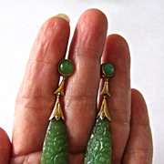 SALE Vintage Art Deco carved jade earrings