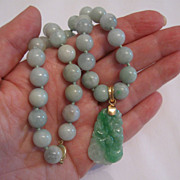 SOLD Vintage jade necklace with carved pendant, 18k, 14k