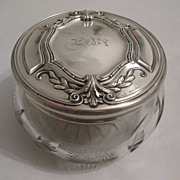 SOLD Vintage sterling silver and cut glass dresser jar