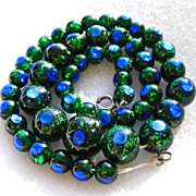 SOLD Vintage vibrant rare peacock eye bead necklace, peacock foil