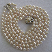 SOLD Fabulous double strand cultured pearl necklace