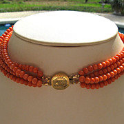 SOLD Antique coral necklace with 14k gold clasp