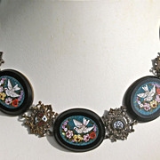 SOLD Antique Grand Tour micro mosaic necklace with 5 matching plaques  $800!!!