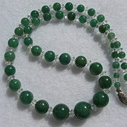 SALE PENDING Vintage aventurine and faceted crystal necklace
