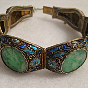 SOLD Vintage Chinese apple Jade and enamel cloisonne filigree bracelet SILVER