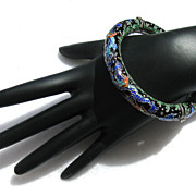 AT AUCTION Vintage Chinese export enamel dragon bangle bracelet, SILVER