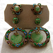 SOLD Antique Chinese carved jade and enamel earrings