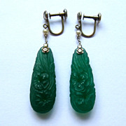 SALE Antique Art Nouveau/Art Deco carved chrysoprase drop earrings, 18k