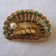 SOLD Beautiful hand crafted clam shell pin with pearl and turquoise, 9k