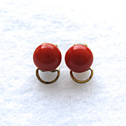 SOLD Vintage Mediterranean Sardinian red coral button earrings