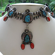 SOLD Vintage Navajo coral and turquoise squash blossom necklace, sterling