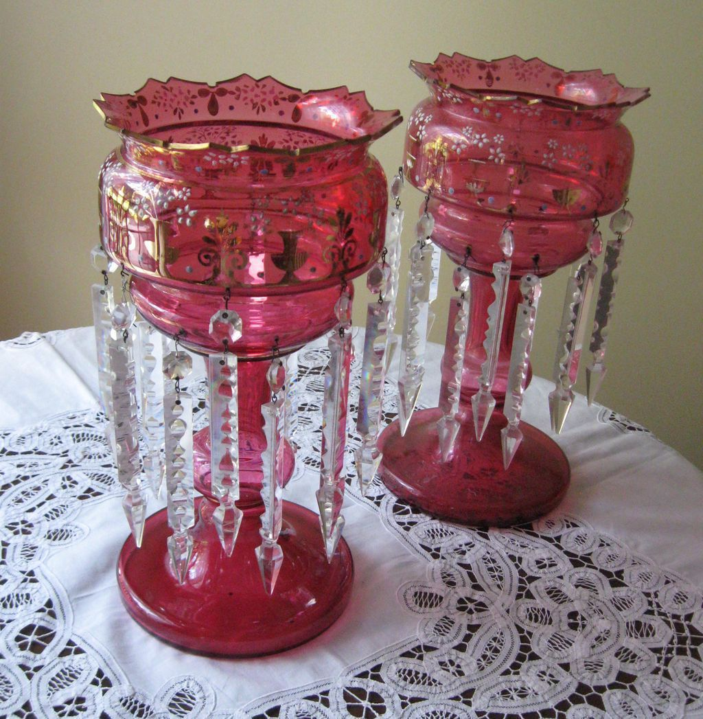 Antique cranberry glass lustres, hand decorated, monumental