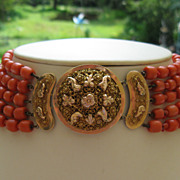 SOLD Antique coral necklace, Dutch, ornate cannetille 14k+ rose gold clasp, 19th century