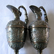 REDUCED Antique Elkington highly embossed silver plate ewers, pair, 1850s
