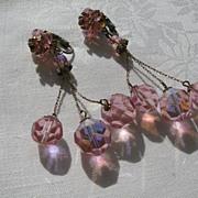 VIntage pink crystal drop earrings