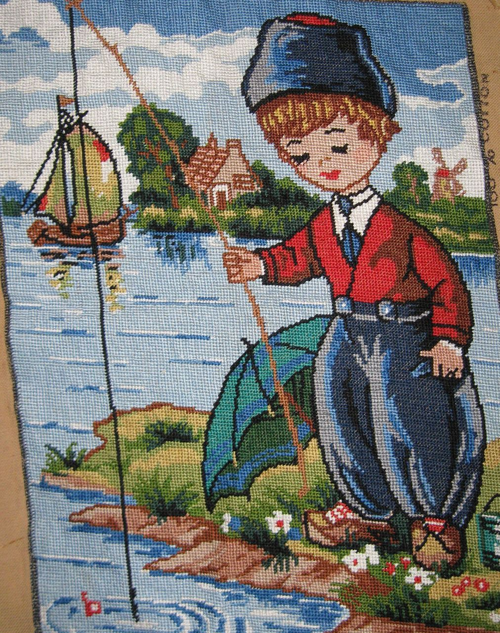 Vintage little Dutch boy needlepoint