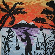 Vintage needle point water carrier at sunset, tapestry
