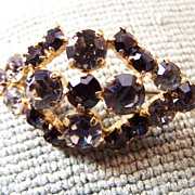 Vintage Charcoal and Clear Rhinestone Brooch